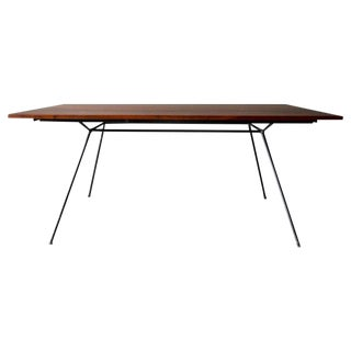1960s Mid-Century Modern Milo Baughman for Pacific Iron Products Iron and Walnut Slab Dining Table For Sale