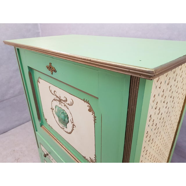 French Antique Early 1920s Handpainted Gilted Imperial Style Charming Secretaire Credenza For Sale - Image 4 of 13