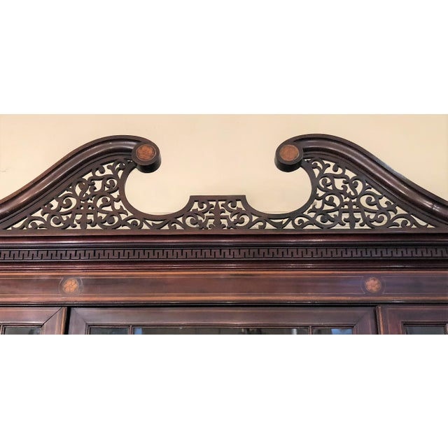 Antique English Mahogany Bookcase with Superb Inlay, Circa 1880-1890. For Sale - Image 4 of 5
