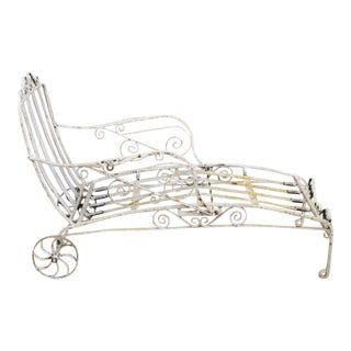Early 20th Century Antique Saltertini Wrought Iron Art Nouveau Reclining Chaise For Sale