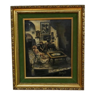 """1970s """"The Artist and His Model in the Studio"""" Figurative Interior Scene Oil Painting, Framed For Sale"""