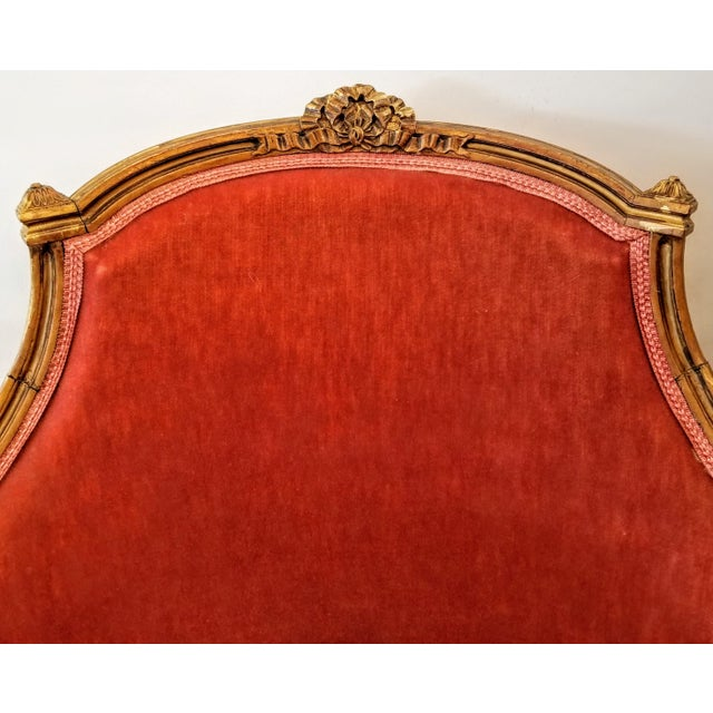 Louis XV Style Pink Mohair Velvet Upholstery Bergere Chairs- A Pair For Sale - Image 4 of 9