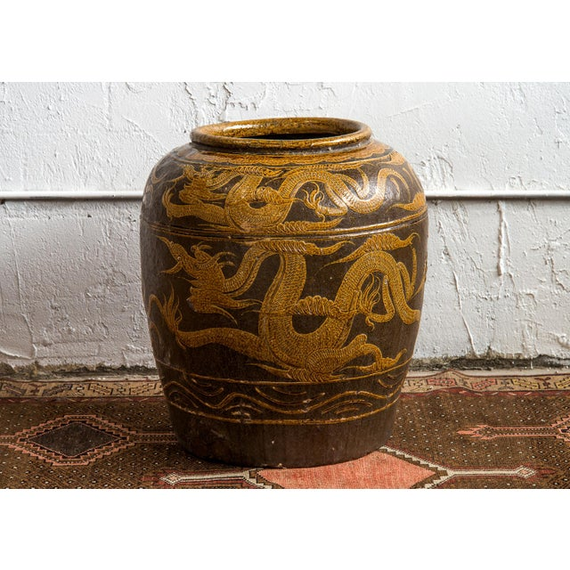 "Antique Chinese Ceramic ""Dragon"" Pot For Sale - Image 9 of 9"