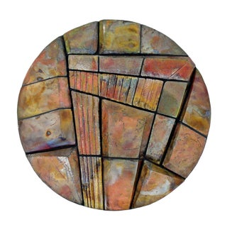 Mid-Century Modern Round Ceramic Hanging Wall Art Sculpture Bobbi Stevens For Sale