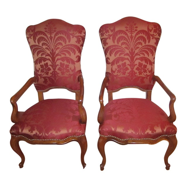 Century Furniture Host & Hostess Damask Silk Upholstery Chairs - a Pair For Sale