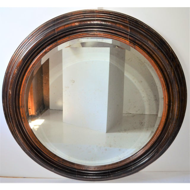 2010s Baker Furniture Round Distressed Solid Maple Mirror For Sale - Image 5 of 11