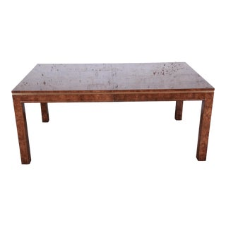 Bernhard Rohne for Mastercraft Burl Wood, Brass, and Inlaid Rosewood Extension Dining Table For Sale