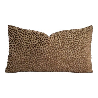 "Gp & J Baker Lifestyle Cosma in Chocolate Pillow Cover - 11"" X 20"" Brown Raised Velvet Dots Rectangle Cushion Case For Sale"