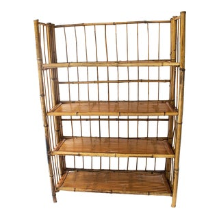 Vintage Bamboo Folding 4 Tiered Shelf For Sale