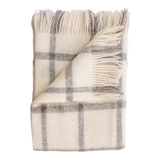 Merino Lambswool Patterned Throw in Windowpane Pearl For Sale