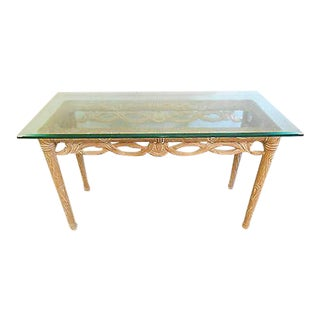 Carved Naturalistic Solid Maple Glass Top Sofa Table For Sale
