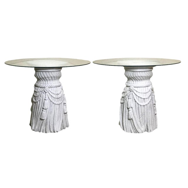 Hollywood Regency Tassel Fringe Rope Side Tables in the Manner of Dickinson – a Pair For Sale In Miami - Image 6 of 7