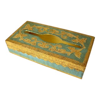 Florentine Gilt Blue Tissue Box Cover For Sale
