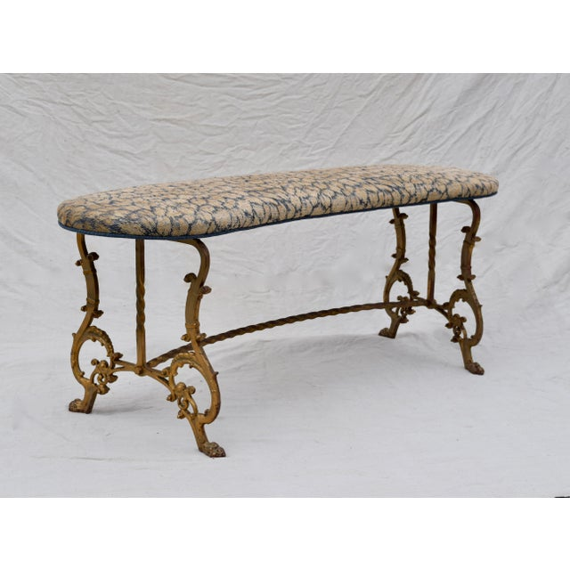 Gilt Iron Bench in Indigo Blue Leopard For Sale - Image 4 of 13