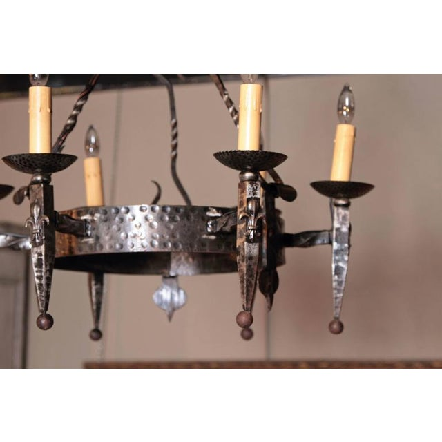 Early 20th Century Early 20th Century French Wrought Iron Six-Light Chandelier With Fleur-De-Lys For Sale - Image 5 of 10