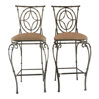 1990s Vintage Faux Bamboo Wrought Iron Bar Stools - Set of 2