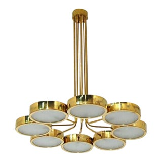 1960s Mid-Century Italian Brass Chandelier For Sale
