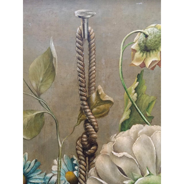 """Flowers in Hanging Basket"" Botanical Oil Painting For Sale - Image 3 of 4"