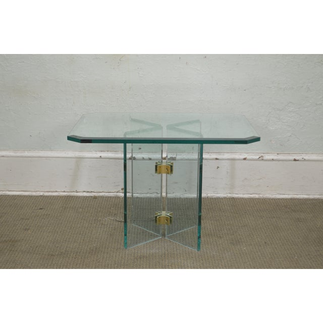 1980s Leon Rosen for Pace Modern Glass Brass Side Table For Sale - Image 5 of 13