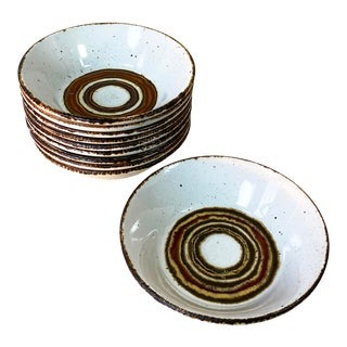 Vintage 1970s Mid-Century Modern Stonehenge Midwinter Earth Cereal Soup Bowls - Set of 10 For Sale