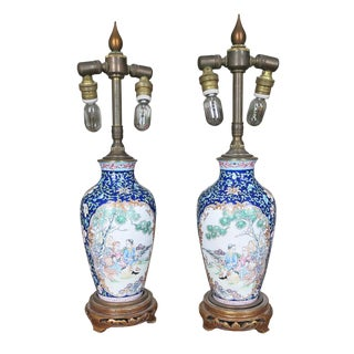 Early 19th Century Vintage Chinese Canton Enamel Vases Mounted as Lamps- A Pair For Sale
