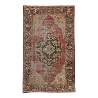 Distressed Vintage Turkish Oushak Rug with Modern Industrial Style