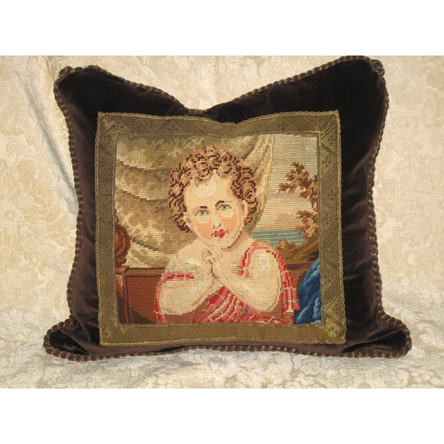 19th C Needlepoint Tapestry Portrait of Child Pillow - Image 2 of 7