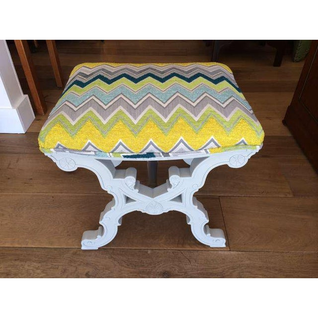 Grey Stool by Nathan Turner Upholstered in a Multi Colored Zig Zag Fabric