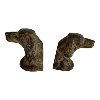 Classic Dog Head Bookends or Door Stops, a Pair For Sale