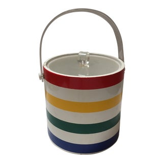 Midcentury Ice Bucket in Primary Colors With Lucite Lid & Handle For Sale