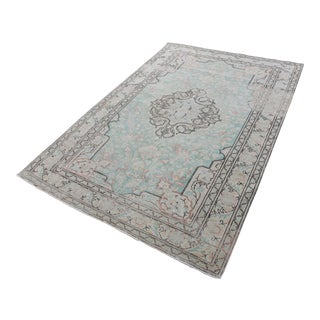 1960 Handmade Double Knotted Turkish Floor Rug For Sale