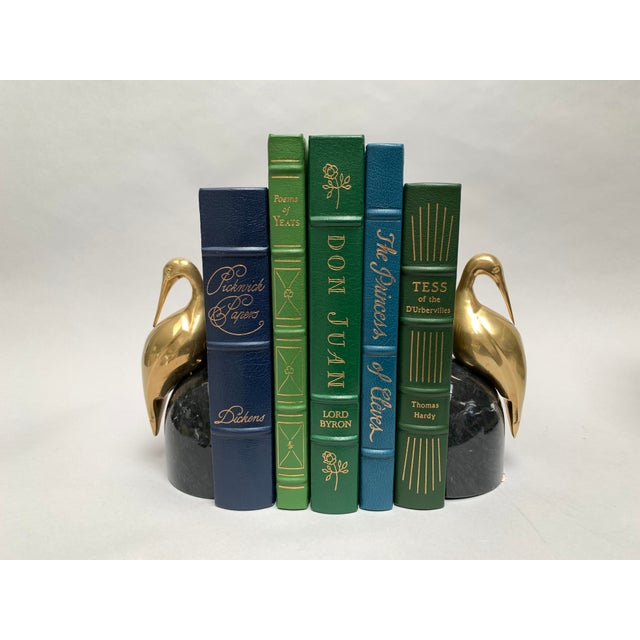 American Easton Press Vintage Leatherbound Books, Blue and Green - Set of 5 For Sale - Image 3 of 13