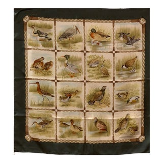 "C. 1990's Collectible Gucci ""Wild Birds"" Silk Scarf For Sale"