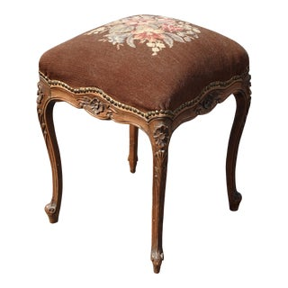 Vintage French Louis XVI Brown Ornate Bench Stool W Floral Needlepoint Tapestry For Sale