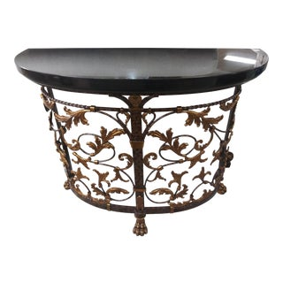 Traditional Maitland-Smith Carved Metal Leaf Scroll Black Top Console Table For Sale