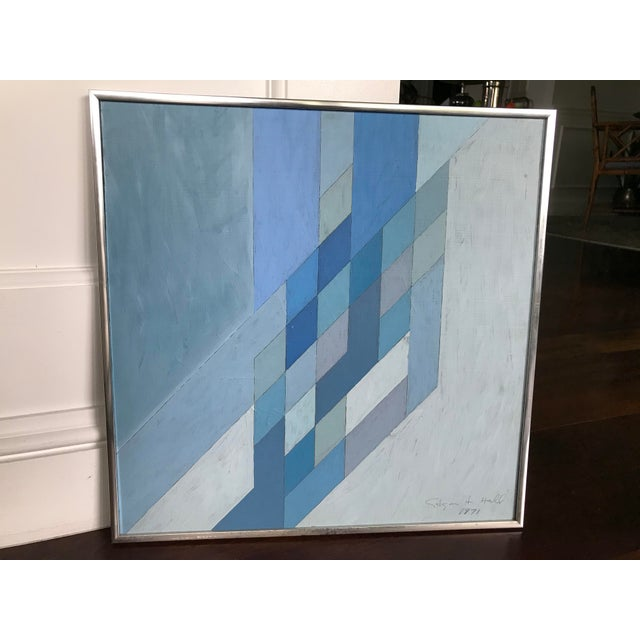 1970s Vintage Abstract Blue Geometric Painting For Sale - Image 4 of 10