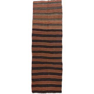Black Orange Striped Kilim Runner - 3′7″ × 10′8″ For Sale