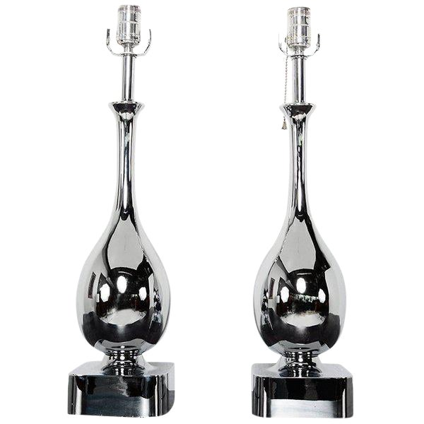 Pair of Chrome-Plated Tear Drop Table Lamps For Sale