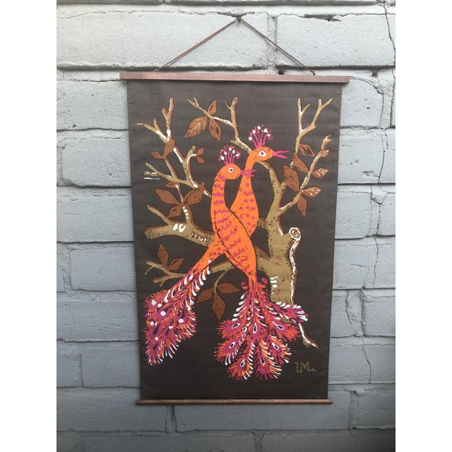 1960s Vintage Swedish Ulla Margareta Littorin/Uml Peacock Tapestry For Sale - Image 11 of 11