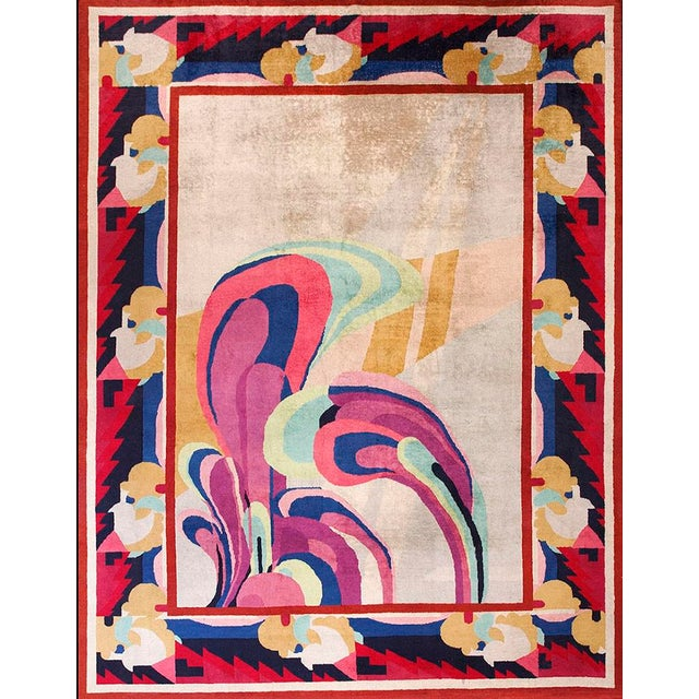 "Textile Antique Chinese Art Deco 9'0"" X 11'6"" For Sale - Image 7 of 7"