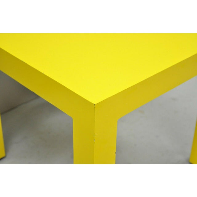 Mid-Century Modern 1970s Vintage Thayer Coggin Milo Baughman Yellow Parsons Style Laminate End Table For Sale - Image 3 of 10