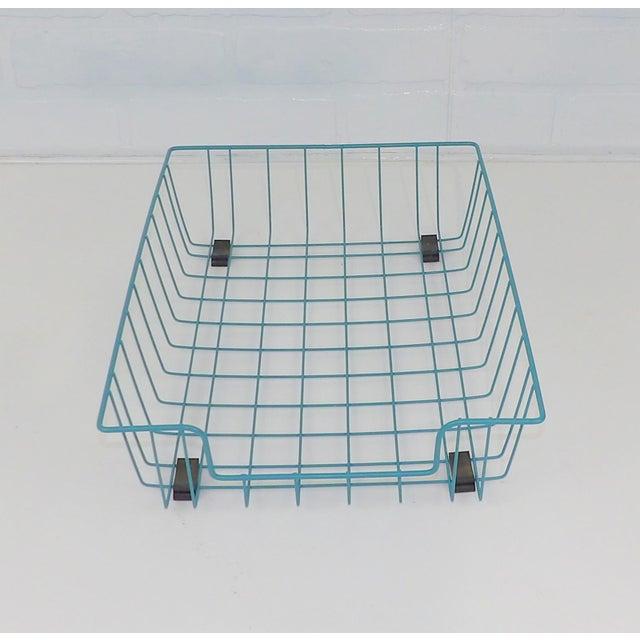 Mid-Century Modern Teal Aqua Blue Mid-Century Modern Metal Wire File Basket or Magazine Rack For Sale - Image 3 of 7