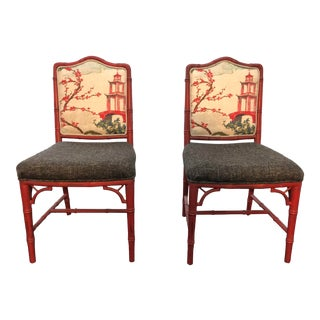 Chinoiserie Faux Bamboo Style Chairs- a Pair For Sale