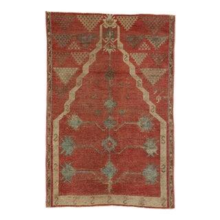 Vintage Turkish Oushak Prayer Rug, 02'09 X 04'02 For Sale