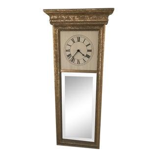 Gilt Long Rectangular Clock and Mirror For Sale