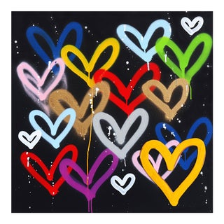 """""""Love My Heart and Soul"""" Original Black and Colorful Artwork by Amber Goldhammer For Sale"""