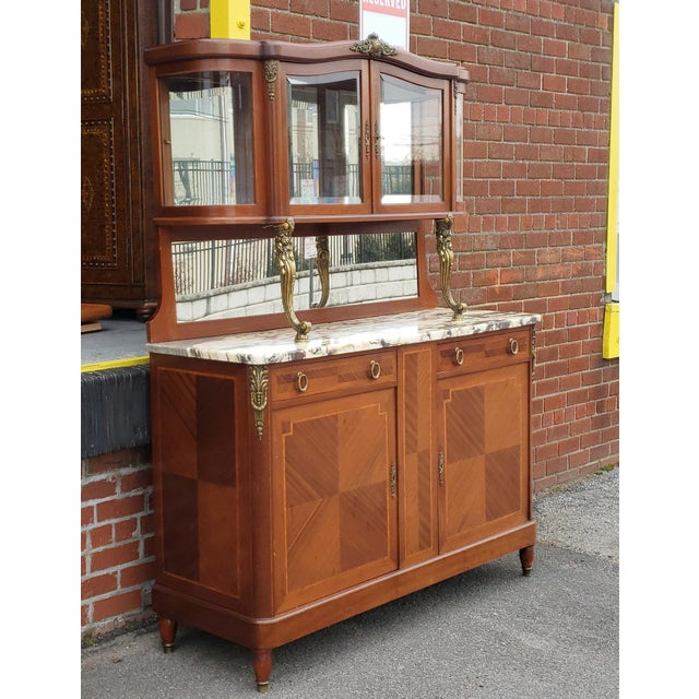 1950s French Louis XVI Style Walnut & Marble Top Dinning Room Hallway Cabinet For Sale - Image 10 of 13