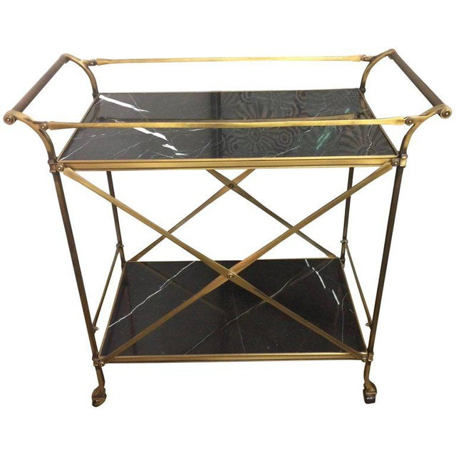 Mid Century Modern Brass & Marble Bar Cart - Image 9 of 9