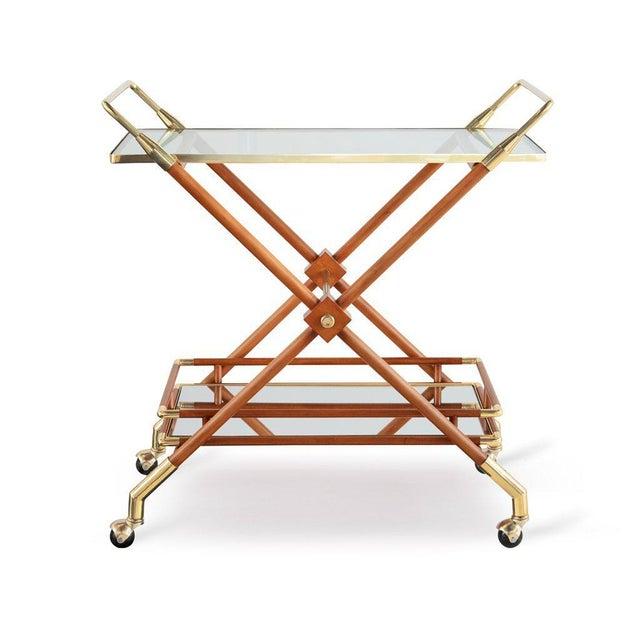 Mid-Century Modern Hudson Bar Cart in Honey For Sale - Image 3 of 3