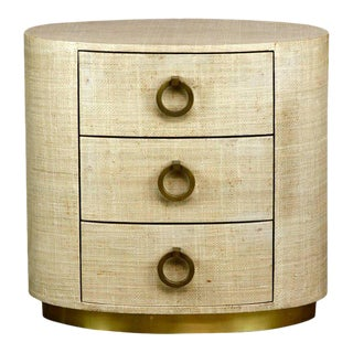 Raffia Grasscloth Clad Oval Three-Drawer Dresser Nightstand